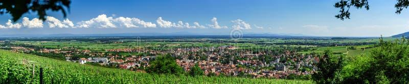 Szeroki panoramiczny widok Alsacevineyards, Francja zdjęcie royalty free