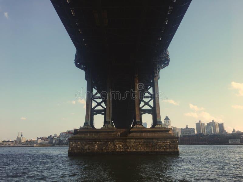 Szeroki symetryczny strzał pod terenem pf most przy FDR przejażdżką, Nowy Jork, Stany Zjednoczone obraz stock