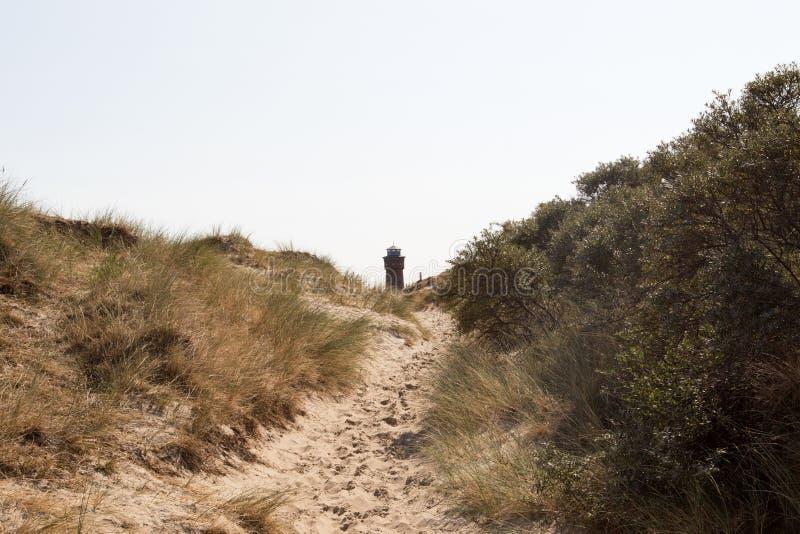 Szeroki widok na naturalnej nożnej ścieżce między piasek diunami pod niebieskim niebem na północnym dennym wyspy borkum Germany fotografia stock