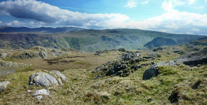 Szeroki widok patrzeje nad Langstrath od Rosthwaite Spadał obrazy royalty free
