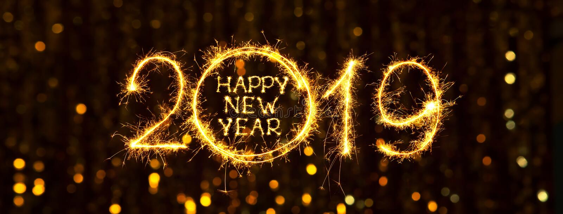 Szerokiego kąt sieci wakacyjnego sztandaru Szczęśliwy nowy rok 2019 ilustracji