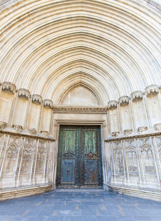 Szerokiego kąta Południowy drzwi, katedra święty Mary Girona, Girona, Catalonia, Hiszpania obrazy stock