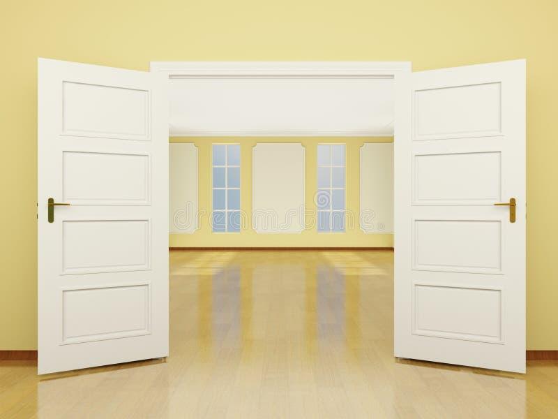 Szeroko otwarty drzwiowy wejście żywy pokój w klasyka stylu. 3 royalty ilustracja