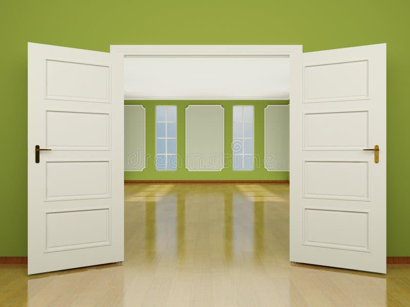Szeroko otwarty drzwiowy wejście żywy pokój w klasyka stylu. 3 ilustracji