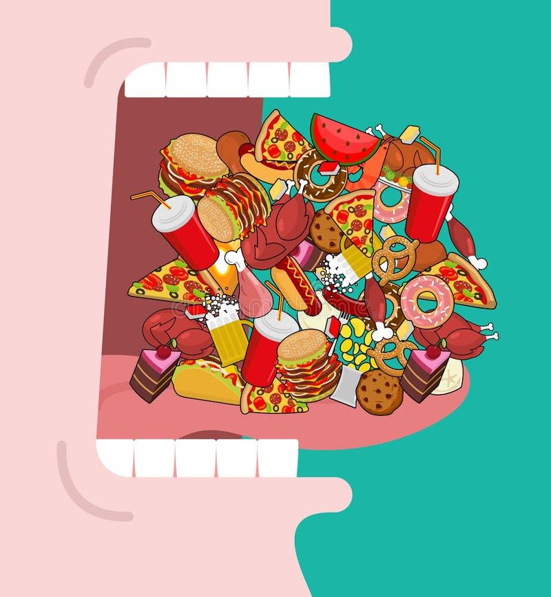 Szeroko otwiera usta udział jedzenie Absorbowanie karma Je dużo m royalty ilustracja