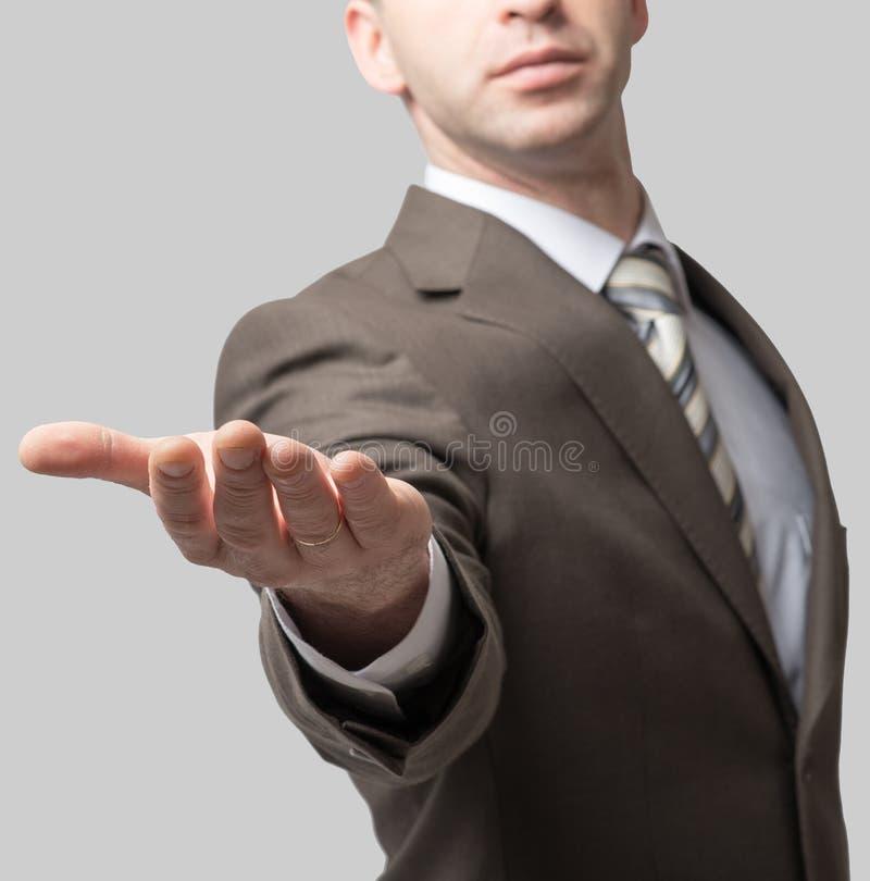 Download Szeroko Rozpościerać Biznesmen Ręka Zdjęcie Stock - Obraz złożonej z outstretched, ręka: 65225844