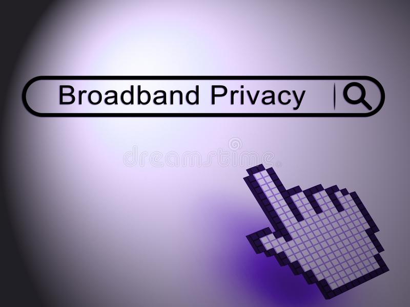 Szerokopasmowej prywatność Bezpiecznie interneta ochrony 2d ilustracja ilustracji