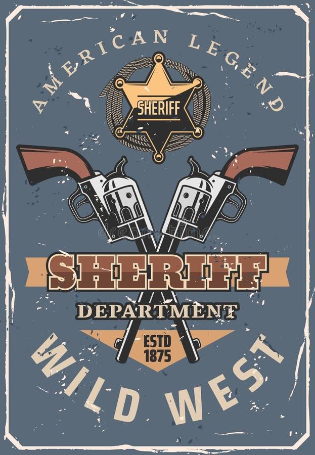 Szeryfów pistolety, gwiazda, kowbojski kapelusz Dziki Zachodni western royalty ilustracja
