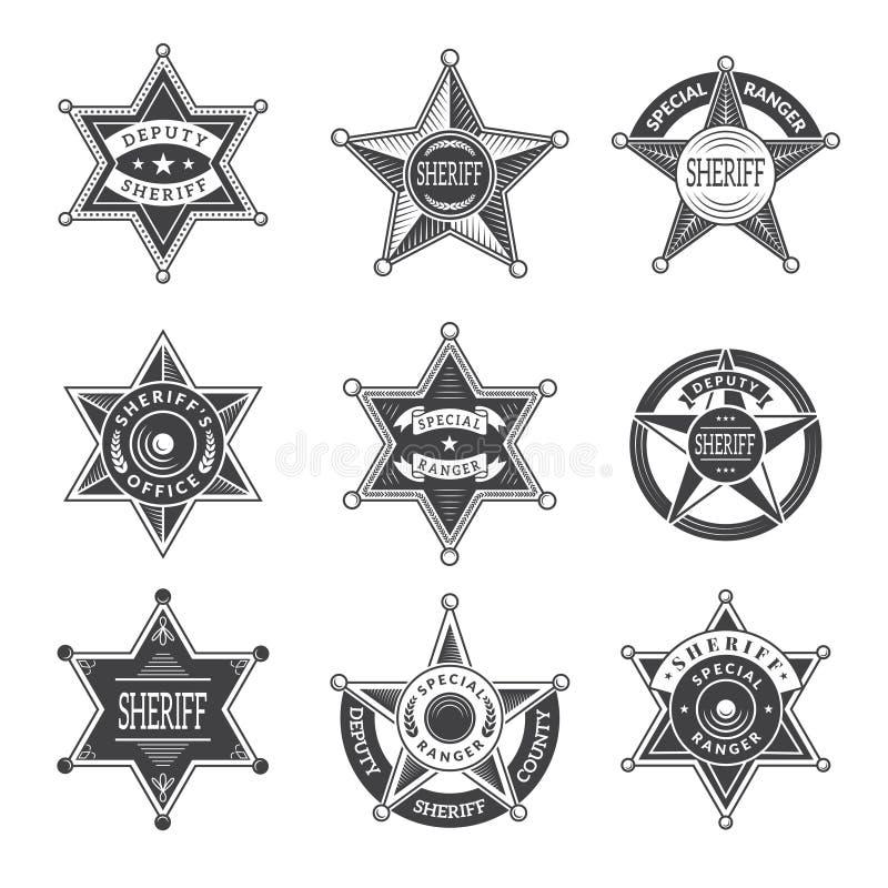 Szeryf gra główna rolę odznaki Western Texas i leśniczych gwiazdowe osłony lub loga rocznika wektoru obrazki ilustracja wektor