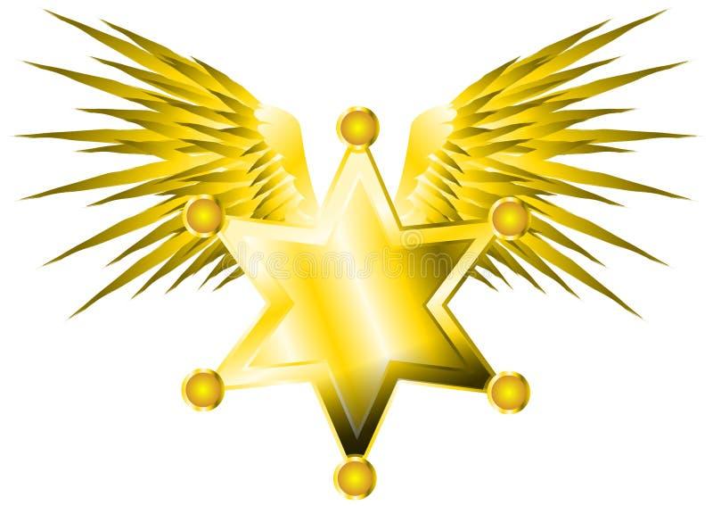 Szeryf gwiazda z skrzydłami royalty ilustracja