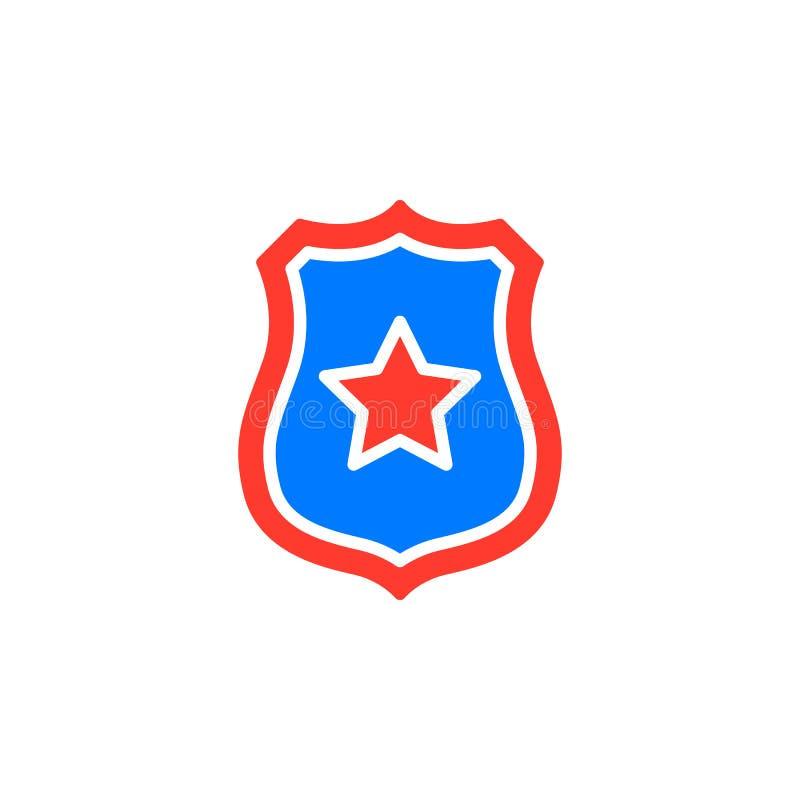 Szeryf odznaka z gwiazdowym ikona wektorem, wypełniający mieszkanie znak, stały kolorowy piktogram odizolowywający na bielu royalty ilustracja
