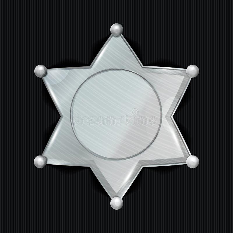 Szeryf odznaki gwiazdy wektor klasyczny znak Miejski miasta egzekwowania prawa dział royalty ilustracja