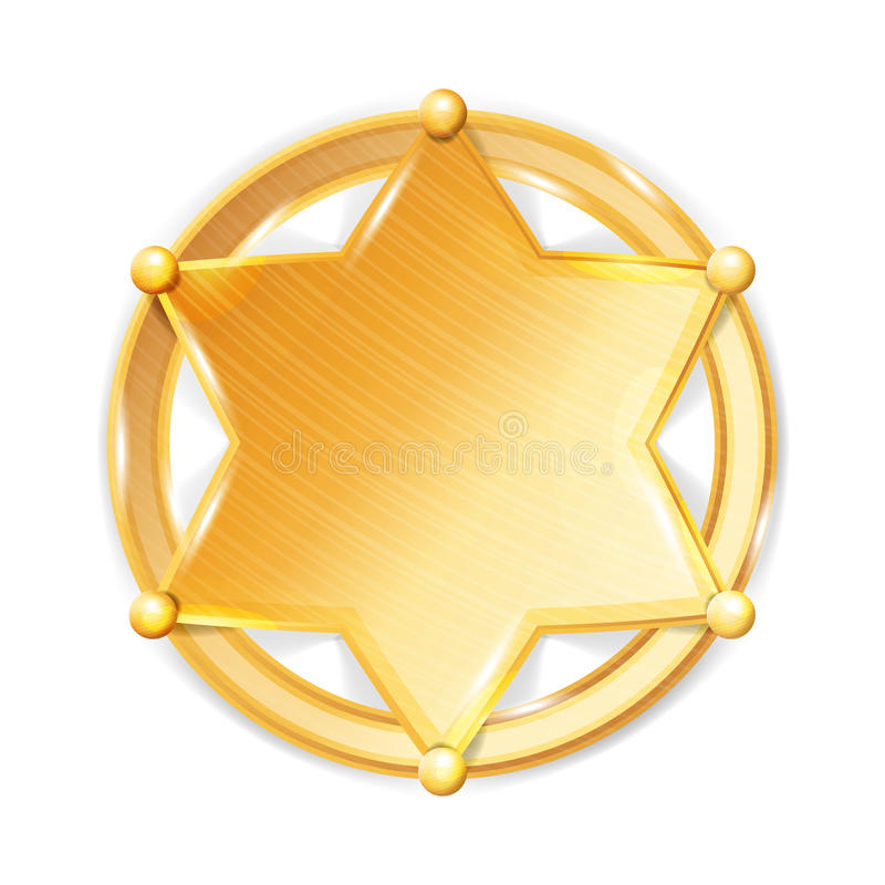 Szeryf odznaki gwiazdy wektor Milicyjna Złota Heksagonalna Gwiazdowa ikona royalty ilustracja