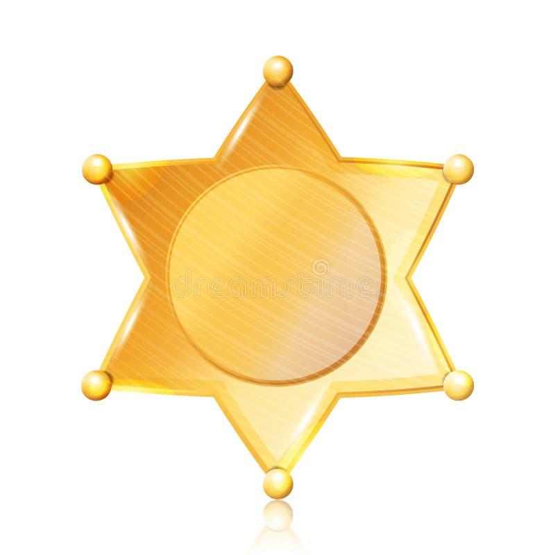 Szeryf odznaki gwiazdy wektor Złocisty symbol Miejski miasta egzekwowania prawa dział Odizolowywający na czarny tle ilustracja wektor