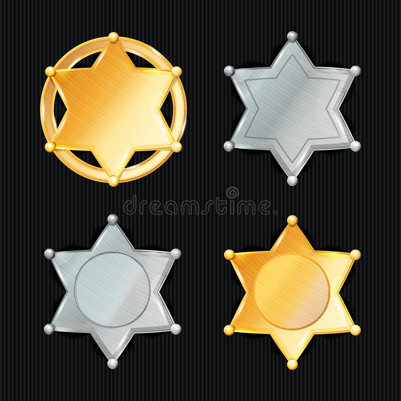 Szeryf odznaki gwiazdy wektoru set Różni typ klasyczny znak Miejski miasta egzekwowania prawa dział Odizolowywający na Czarnym Ba ilustracji