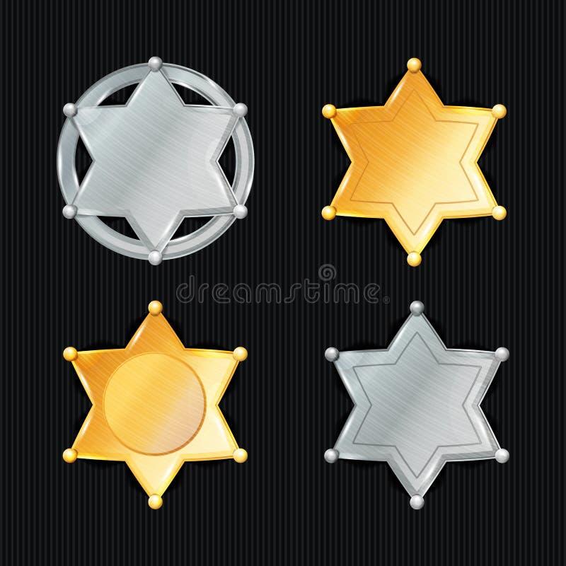 Szeryf odznaki gwiazdy wektoru set Różni typ klasyczny znak Miejski miasta egzekwowania prawa dział Odizolowywający na Czarnym Ba royalty ilustracja