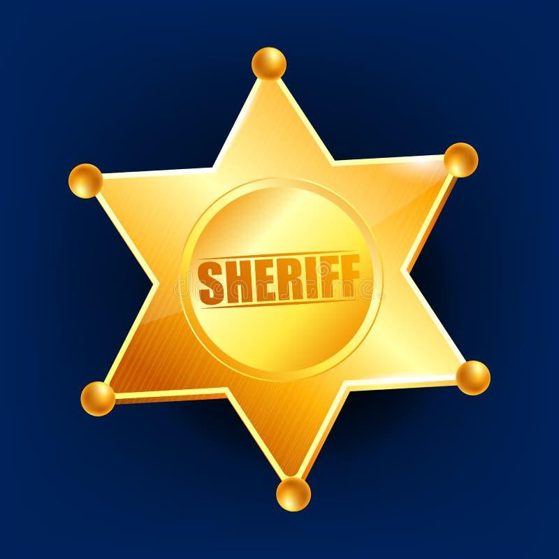 Szeryf odznaki wektor złota gwiazda Oficer ikona Detektywistyczna insygnia 3d realistyczna ilustracja royalty ilustracja