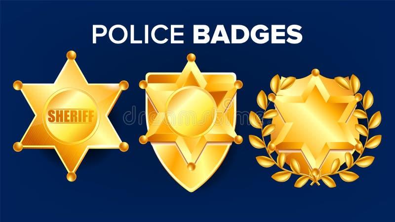 Szeryf odznaki wektor złota gwiazda Oficer ikona Detektywistyczna insygnia Sevurity emblemat styl western retro przedmiot 3d royalty ilustracja