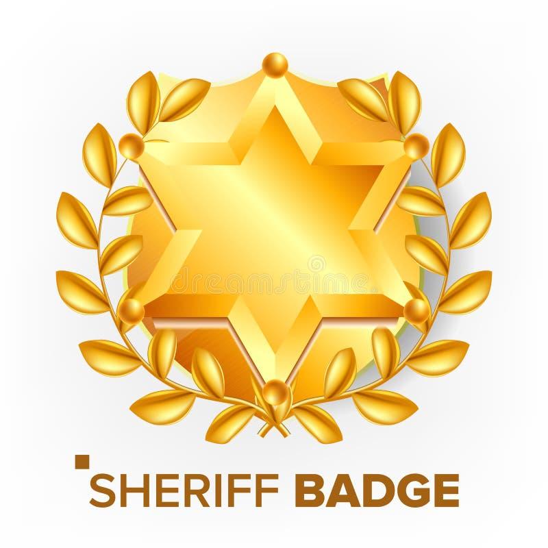 Szeryf odznaki wektor złota gwiazda Sevurity emblemat retro przedmiot 3d realistyczna ilustracja royalty ilustracja