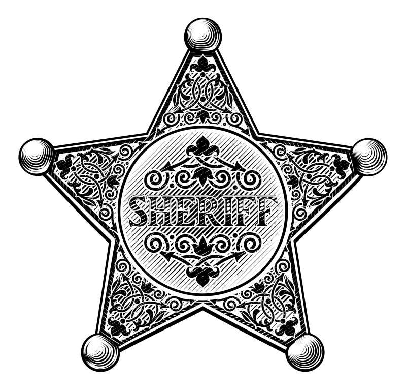Szeryf odznaki Woodcut Gwiazdowy styl ilustracja wektor