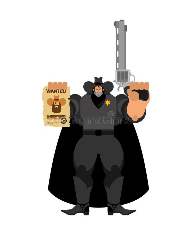 Szeryfa kowboj i Chcieć ulotka na zachód, dziki rewolwerowiec Gniewny Zachodni policjant ilustracja wektor