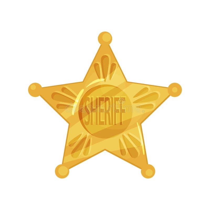 Szeryfa s ikony kształt pięcioramienna gwiazda w kreskówka płaskim projekcie Policjanta emblemat ilustracja wektor
