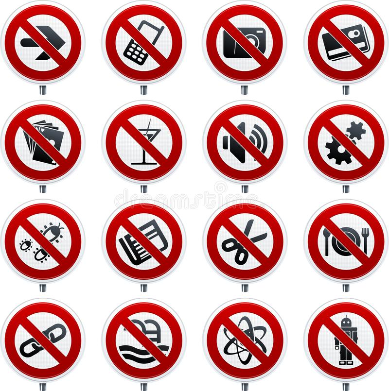Szesnaście forbbiden sygnał ikony z różnymi symbolami ilustracji