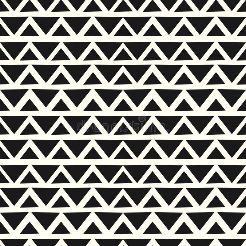 Szewronów kolorów geometryczna bezszwowa deseniowa ręka rysujący czarny i biały tło gotowy dla druku ilustracja wektor