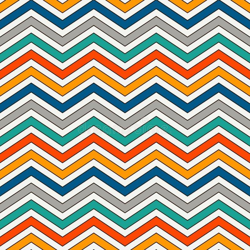 Szewron paskuje tło Jaskrawy bezszwowy wzór z klasycznym geometrycznym ornamentem Zygzakowate horyzontalne linie tapetowe ilustracja wektor
