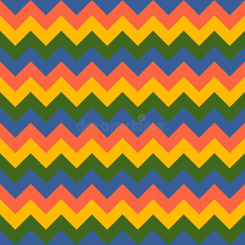 Szewron strzała geometrycznego projekta koloru żółtego menchii zieleni deseniowy bezszwowy wektorowy kolorowy błękit royalty ilustracja