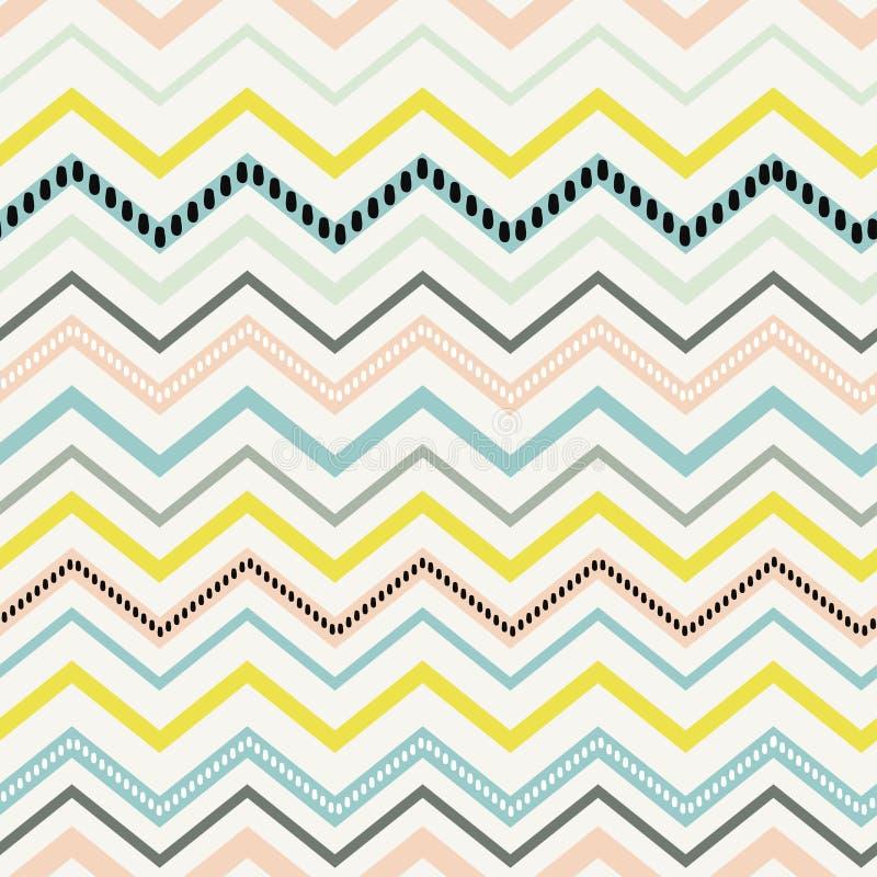 Szewron wiosny menchii koloru żółtego pastelowego kolorowego błękitnego wzoru bezszwowy wektor ilustracji