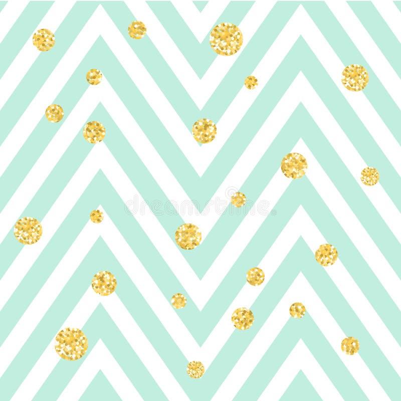 Szewronu błękitny i biały zygzakowaty bezszwowy wzór z złotymi shimmer polki kropkami Wektorowy geometryczny lampas, błyskotliwoś ilustracja wektor