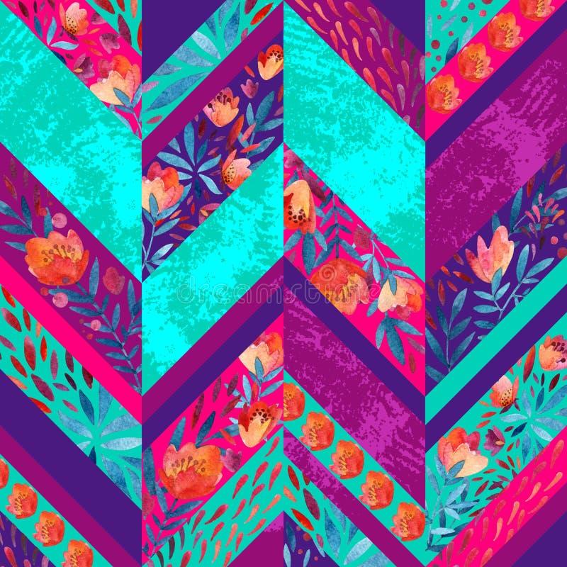 Szewronu bezszwowy wzór z akwarela kwiatami ilustracja wektor