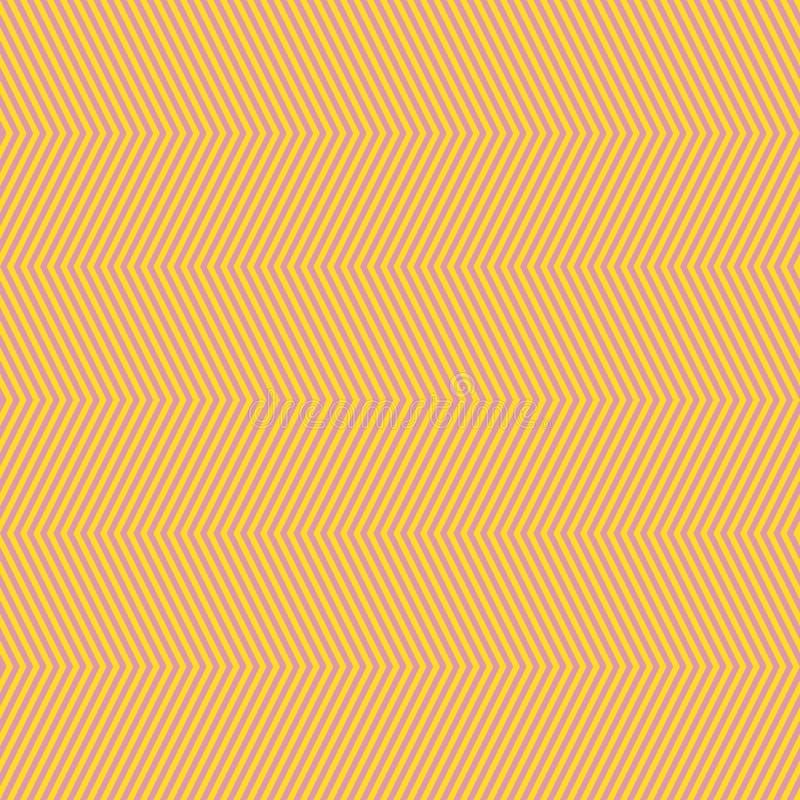 Szewronu bezszwowy wz?r Wektorowa tekstura z cienkim koloru żółtego i menchii zygzag wykłada ilustracji