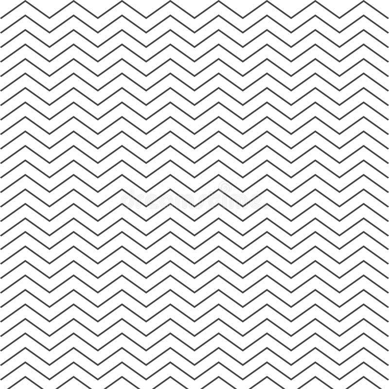 Szewronu monochromu Zygzakowaty biały wzór bezszwowa konsystencja ilustracja wektor