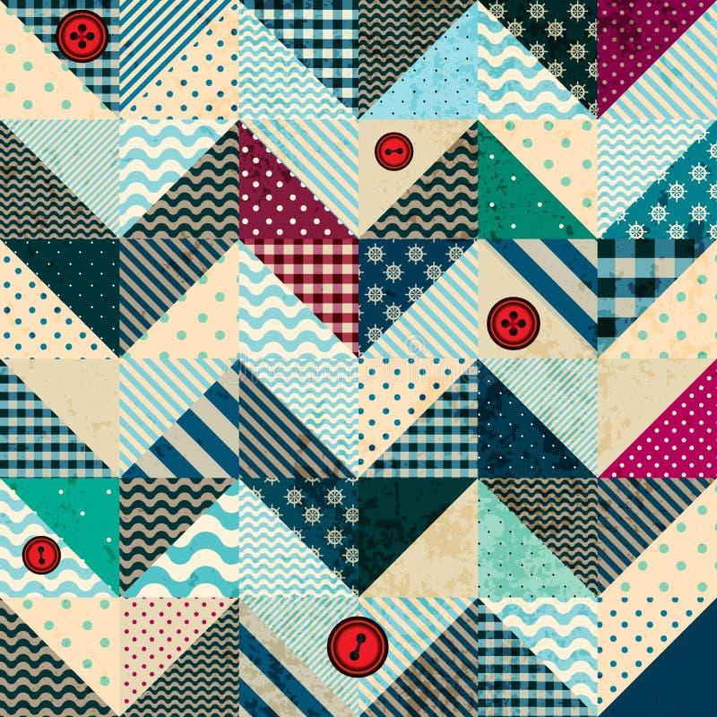 Szewronu patchwork w nautycznym stylu z grunge ilustracja wektor