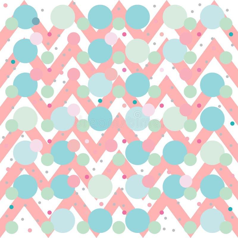 Szewronu zygzag menchii błękitnej zieleni tła bezszwowy wzór Wektorowi geometryczni polki kropki lampasy ilustracji