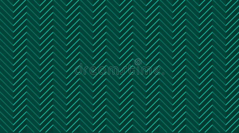 Szewronu zygzakowaty szmaragdowy ciemnozielony bezszwowy wzór z lekkimi liniami royalty ilustracja