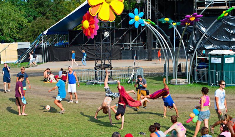 Sziget music festival. BUDAPEST, HUNGARY - AUGUST 13, 2014: Revellers having fun on Sziget music festival. Sziget is one of biggest festivals in Europe stock image