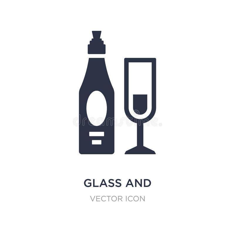 szkło i butelka wino ikona na białym tle Prosta element ilustracja od napoju pojęcia royalty ilustracja