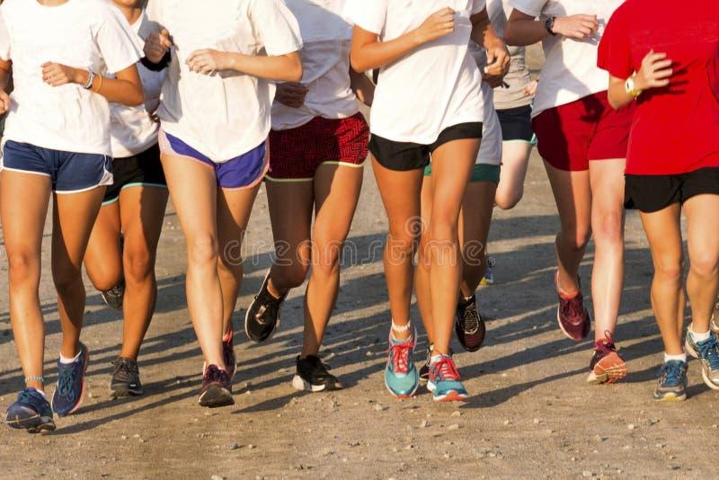 Szkół średnich dziewczyn przecinającego kraju drużyny bieg na brud ścieżce obrazy royalty free