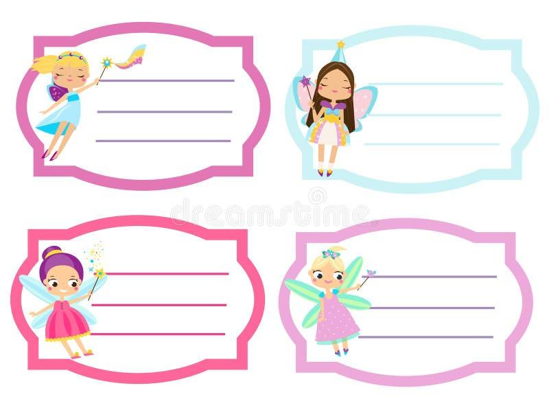 Szkół etykietki z piękną latającą czarodziejką Imię etykietki, majchery dla dziewczyn, uczni notatniki royalty ilustracja