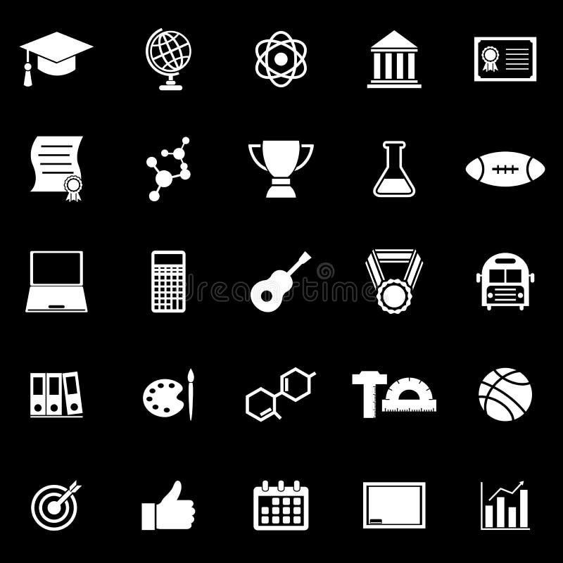 Szkół wyższa ikony na czarnym tle ilustracja wektor