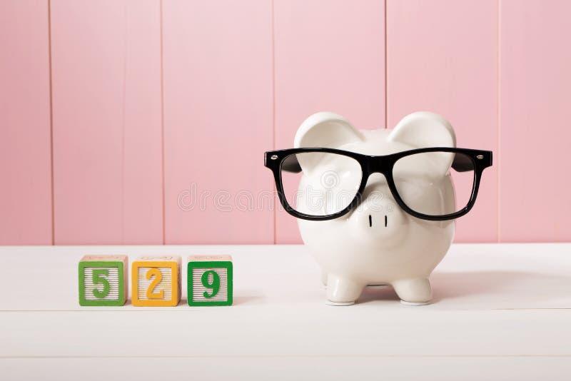 529 szkół wyższa savings planują temat z białym prosiątko bankiem z Eyeglasses zdjęcia stock