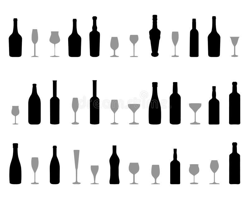 Szkła i butelki wino ilustracja wektor
