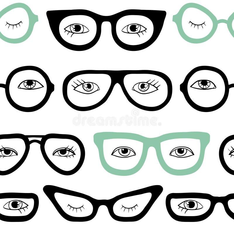 Szkła i oko bezszwowy wzór royalty ilustracja