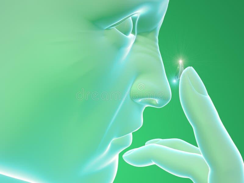 Szkła Kontaktowe, ciało ludzkie profil, twarz, dotyka royalty ilustracja