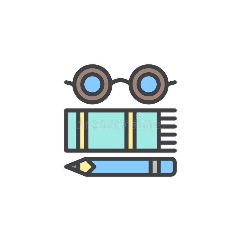 Szkła, książka i ołówek wypełniający, zarysowywają ikonę ilustracja wektor
