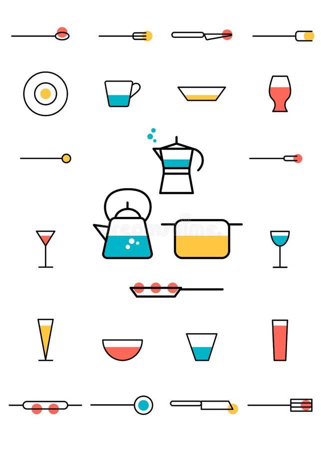 Szkła, kuchenni naczynia, garnki, niecki, moka, czajnik ilustracja wektor