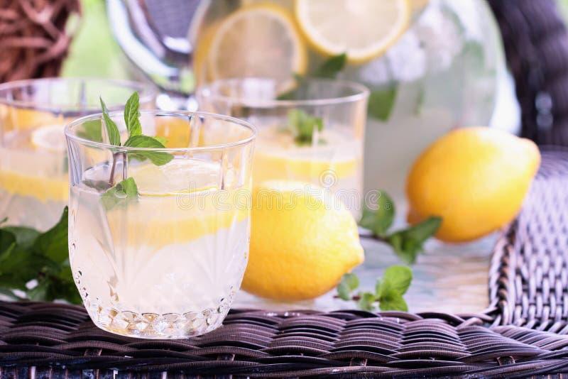 Szkła lemoniada i mennica zdjęcie royalty free